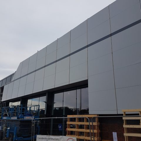 Commercial Exterior Cladding Spray Painted