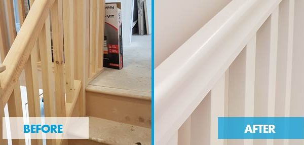 handrail and spindles airless paint spraying